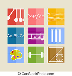 Icons for school subjects - Square colored icons for school...