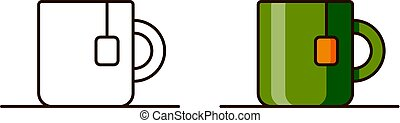 Icons for teacup in outline flat style isolated on white...