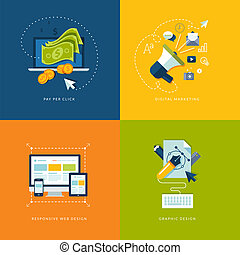 Set of flat design concept icons for web and mobile services and apps. Icons for pay per click internet advertising, digital marketing, responsive web design and graphic design.