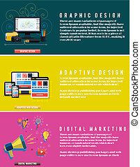 Icons for graphic web design, social digital marketing and adaptive design in flat design