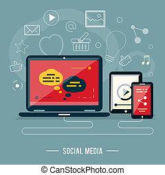 Icons for web design, seo, social media in flat design