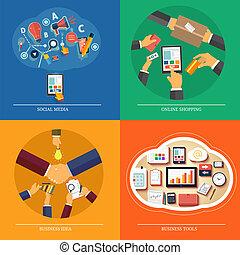 Icons for web design, seo, social media, online shopping