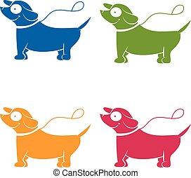 Icons funny cartoon dog. Vector