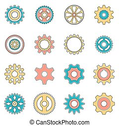 Icons gear wheel in style lineart. Pinion for gear.