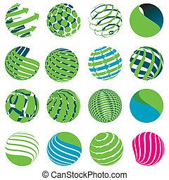 Icons globe - Illustration, sixteen blue symbols of the...