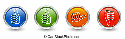 Icons green and blue thumb up - thumb down red - orange...