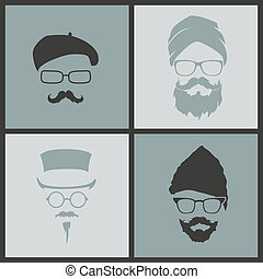 icons hairstyles beard and mustache hipster