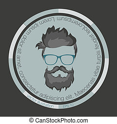 icons hairstyles beard and mustache hipster illustration