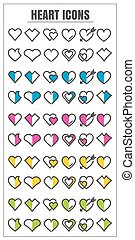 icons Heart color blck blue pink Yellow green vector on white background