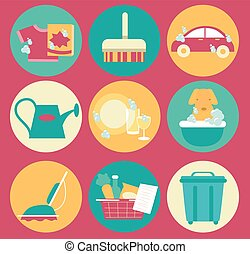 Icons House Chores Illustration