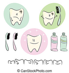 Icons, illustrations on the theme of dental care for...