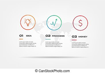Icons infographics with world map. Element of chart, graph, diagram with 2 options - parts, processes, timeline. Vector business template for presentation, workflow layout, annual report