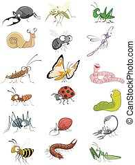 Icons insects set