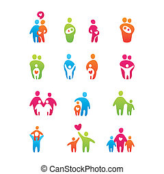 icons-kids-and-parents - set of icons - kids and parents