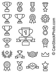 icons., linie, illustrations., trophäe, vektor