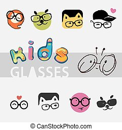 icons, logos for the company of children's glasses, different cute and funny images