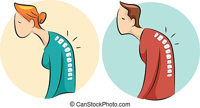 Icons Man Woman Osteoporosis - Illustration of a Hunched Man...