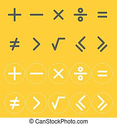 Icons mathematical signs.