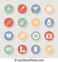 icons., medicinsk, vektor, runda, illustration