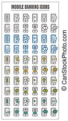 icons mobile banking vector color black blue Yellow green on white background