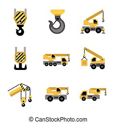 Icons - Mobile crane isolated on white background.