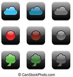 icons., modernos, app, quadrado