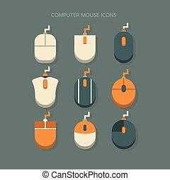 icons mouse modern design Orange White on background