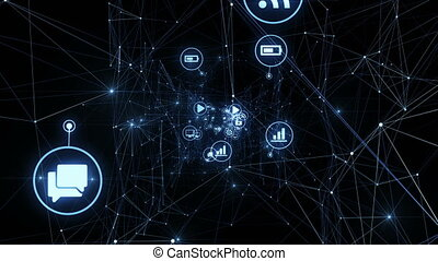 Icons Moving in Abstract Network Grid with Glowing Lights. Beautiful Looped 3d Animation. Digital Technology and Information Concept. 4k Ultra HD 3840x2160.