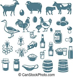 icons of animals and food - icons of livestock and food from...