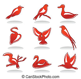 Icons of birds - Set of icons on a theme of a bird. A vector...