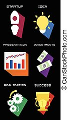 icons of business process in flat style
