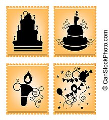 Icons of cakes on orange background