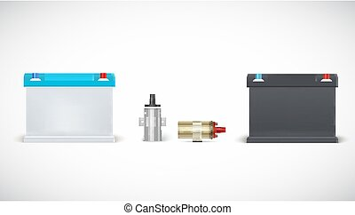 Icons of car battery and ignition coil isolated on white background. Set of realistic car parts. Vector 3d illustration