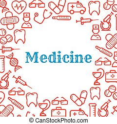 Icons of equipment for medicine and healthcare