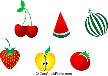 Icons of fresh fruits - Colorful icons of appetizing fruits...