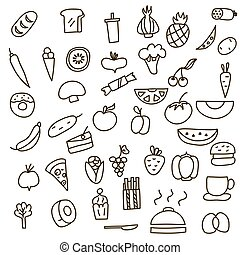Icons of fruits, vegetables and food a hand drawn doodle in style. Vector illustration.