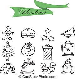 Icons of hand drawn Christmas set