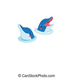 Icons of happy dolphin portraits