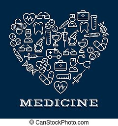 Icons of healthcare or medicine equipment as heart