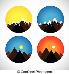 icons of hills & peaks with snow in evenings, mornings - concept