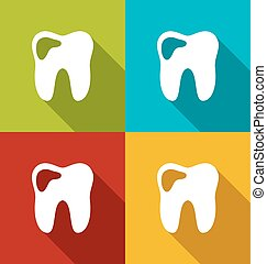 Icons of human tooth with shadows in modern flat design style