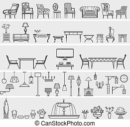 icons of interior elements and furniture, vector...