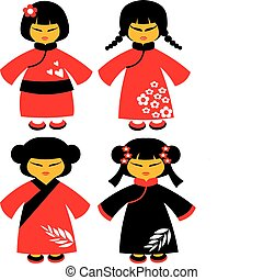 icons of japanese dolls in red traditional dresses -1