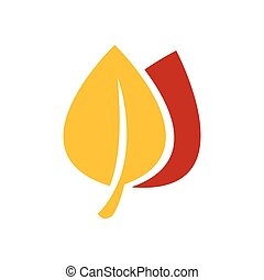 Icons of leaf vector yellow and red color