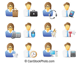 icons of office workers with office tools