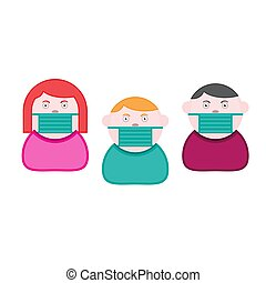 Icons of people in protective medical masks on a white isolated background. Vector image