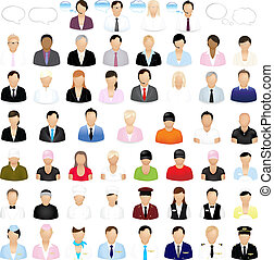 Icons Of People With Speech Bubbles, Isolated On White Background, Vector Illustration