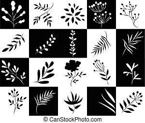 icons of plants in black and white squares