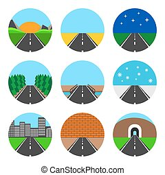 Icons of road landscapes