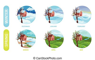 Icons of six months of the year. Spring and winter seasons nature landscapes, snowfall, frost, blizzard, thaw, flowering, green meadow. Weather forecast